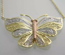 STATEMENT MAKER!!!! TRI COLOR 10KT GOLD BEAUTIFULL FILIGREE BUTTERFLY NECKLACE