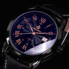 ORKINA Classique Homme Date Acier Inoxydable Cuir Noir Sport Quartz Bracelet Montre
