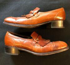 Sz 9 B FLORSHEIM Brown Leather Sole Imperial Dress Shoes EUC Kiltie Fringe