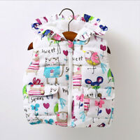 Baby Kid Girls Winter Warm Padded Waistcoat Toddler Outerwear Hooded Coat Jacket