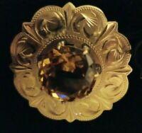 "Vintage Karatclad with Amber Rhinestone Brooch 1-3/4"" Diameter"