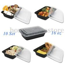 10 Set 16oz Microwavable Food Prep Meal Storage Containers Lids Lunch Boxes