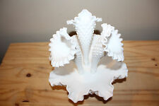 Fenton 3 Horn HOBNAIL Epergne White Milk Glass Flower Bowl Triple Vase MINT