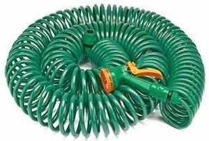 30M Retractable Coil Garden Hose Pipe – Expandable Reel Spray Gun Tap Connector