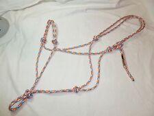 """1/4"""" Soft Polyester Rope Horse Halter-Blue/Grey/Orange/White-Average Horse Size"""
