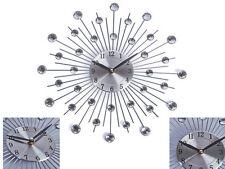 Reloj De Pared elegante 33CM Plata Diamante Con Cuentas De Piedras Preciosas ronda Sunburst Decoración