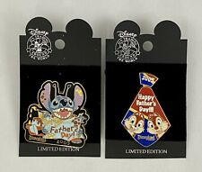 Lot of 2 Disney 2005 Happy Fathers Day Pins- Stitch - Chip Dale DL NEW LE