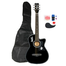 "38"" Acoustic 6 String Black Right Handed Guitar +Bag Set For Beginners Student"