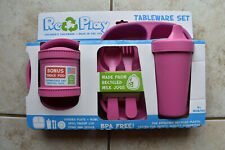 New Re-Play Re Play Pink Childrens Tableware Set Made in USA of Recycled Plastic
