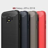 For Samsung J2 Pro 2018 Shockproof Thin TPU Soft Carbon Fiber phone Case Cover