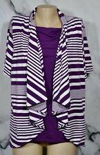 CROFT & BARROW Purple White Stripe Faux Two Piece Top 1X Short Sleeve Solid Frnt
