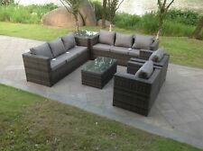 Fimous rattan sofa set with 2 table chairs footstools outdoor garden furniture Grey