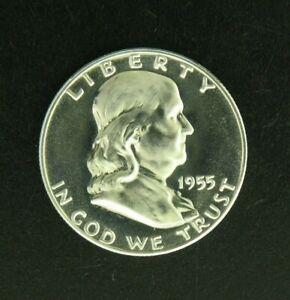 1955 PROOF Franklin Half Dollar 90% Silver Coin Philadelphia Mint