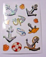 Set Of 12 Nautical Themed Glittery Stickers - Anchors, Shells, Life Preserver, H