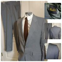 VTG 70s Curlee 2PC Suit 38L light Grey Striped 2B Pockets 32X30 Pants USA Mens