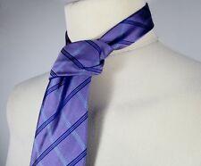 Retro Mens Purple Silk Tie (One Size) Striped Pattern