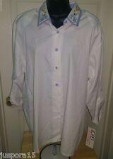 Koret Fancisca NWT Woman's Blue/White Floral/Checks Button Down Shirt Size XL