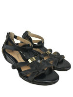 Sofft Women's Black Leather Bernia Strappy Wedge Sandals Sz 7.5M