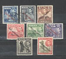 Q9222 - MALTA 1948 - LOTTO USATI DIFFERENTI N°202/208 - VEDI FOTO