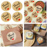 "60Pcs Kraft ""THANK YOU"" Heart Paper Round Sticker Label Seal For Envelope Decor"