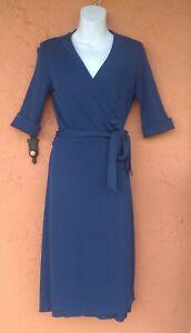 Vintage Diane Von Furstenberg  Wrap Dress 3/4 Sleeve sz 8 BLUE