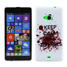 Custodia in TPU per Nokia Lumia 535 Custodia Protettiva Custodia Cover Keep Calm and Kill Zombie
