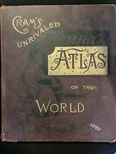 ANTIQUE CRAM'S UNRIVALED FAMILY ATLAS OF THE WORLD 1889 EDITION