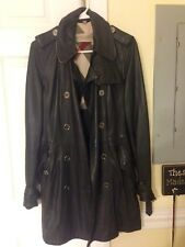Burberry Brit Leather Trench Coat Jacket Black Size 6 Women's