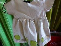 soie ,6-12mois jolie robe ,bébé ou grande poupée 50-60cm