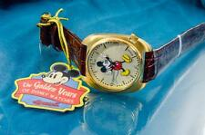 NEW INGERSOLL MENS LARGE MICKEY MOUSE GOLD TONE DRESS WATCH
