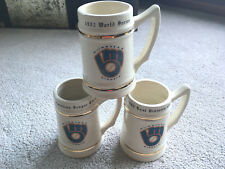 ALL 3 VTG Stoneware MUGS 1982 Milwaukee Brewers BEER STEINS WORLD SERIES champ