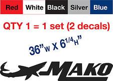 "2 Mako Decal Stickers, 36""w x 6.25""h, $26.99 FREE SHIP"