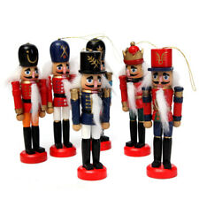 6pcs 12cm Wooden Nutcracker Puppet Toy Solider Handcraft Christmas Decor Gift