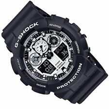 Casio Ga100bw-1a Gent's G-shock Alarm Black Resin Strap Dive Watch