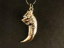 Anhänger 24 Karat Vergoldet Drachenzahn Gothic Amulett Talisman Drache Dragon