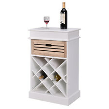 12 Bottles Wine Rack Cabinet Storage Display Shelves Wood Kitchen Decor White