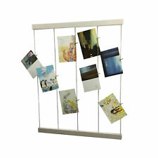 White Photo Display DIY Picture Frame Collage Set Twine Cords Wood Rail Clothpin