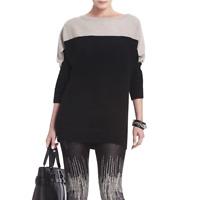 BCBG MAXAZRIA Karlie Color Block Sweater Tunic Sz S Taupe Black Wool Yak Knit
