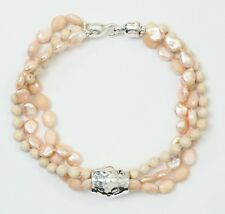 Simon Sebbag Sterling Silver 3 str peach crystal/riverstone/pearl necklace NB785