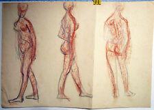THREE NUDE WOMEN drawing by U/K Russian artist