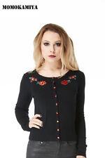 Women's Cotton Blend Hip Length Crew Neck Button Jumpers & Cardigans