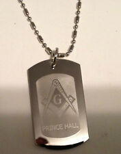 MASONIC (PRINCE HALL) DOG TAG , SILVER W/ ENGRAVED LETTERS