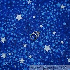 BonEful Fabric Cotton Quilt Blue Silver STAR Sky Glitter Harry Potter Baby SCRAP