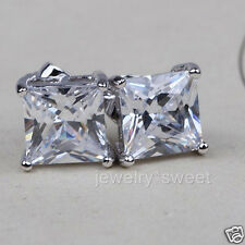 Womens Mens 18k White Gold Filled 6mm Simulated Diamonds Square Stud Earrings