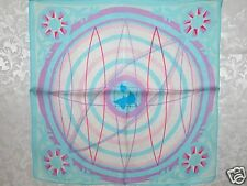 New 100% Charmeuse Silk Scarf Bandana Blue Art