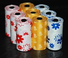 135 DOG PET WASTE POOP PRINTED COLOR BAGS 9 REFILL ROLLS WITH PLASTIC CORE