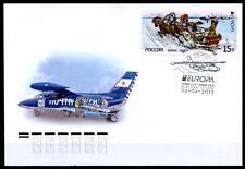 CEPT-2013. Postfahrzeuge. Pferdeschlitten. Postflugzeug. FDC. Rußland 2013