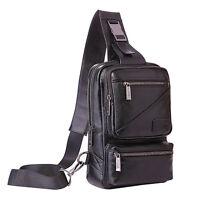 Men Genuine Leather Sling Chest  Pack Cross Body Shoulder Messenger Bag