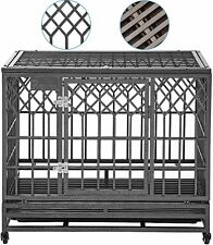 Smonter Heavy Duty Dog Crate Cage Strong Metal Pet Kennel Playpen for Large Dogs