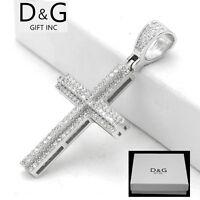 DG Men's 925 Sterling Silver,CROSS Eternity Iced-Out,CZ 40mm Pendant*Unisex*Box